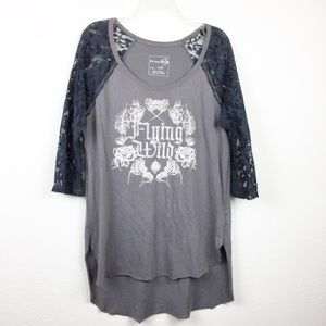Free People We the Free Lace Detail Tee